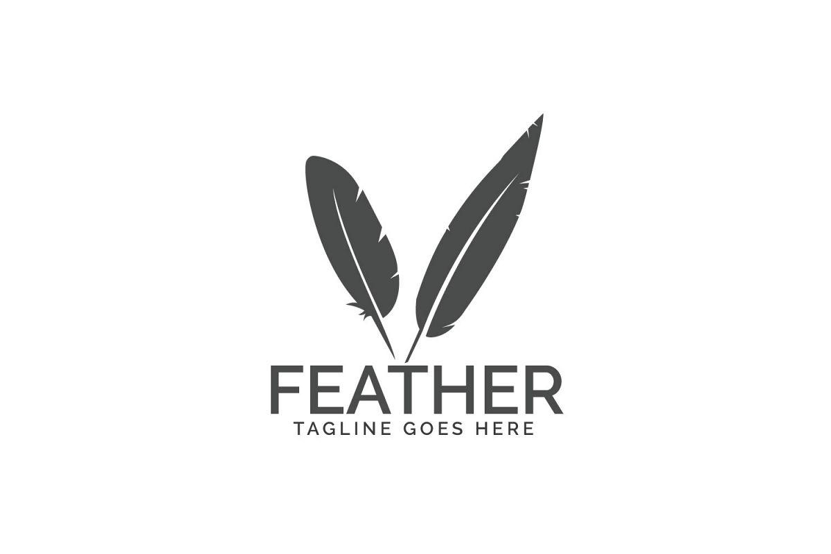 Feather elegant logo. example image 1