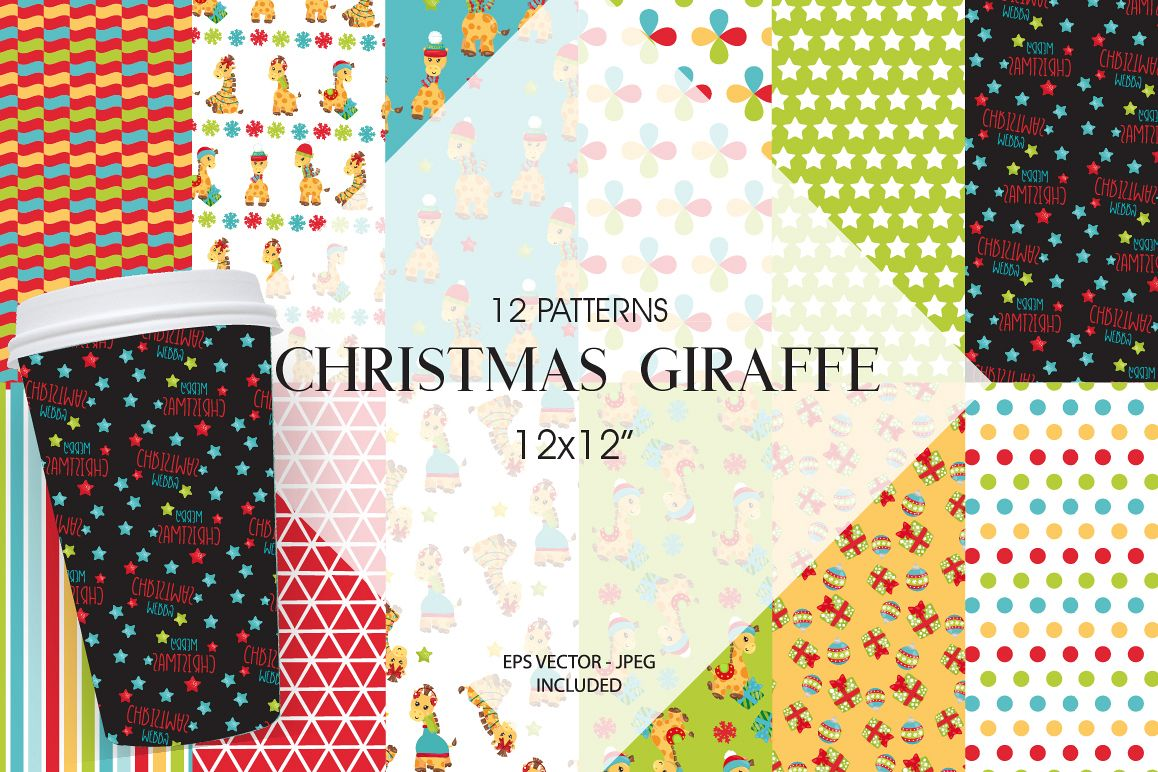 Christmas Giraffes Pattern collection, vector ai, example image 1