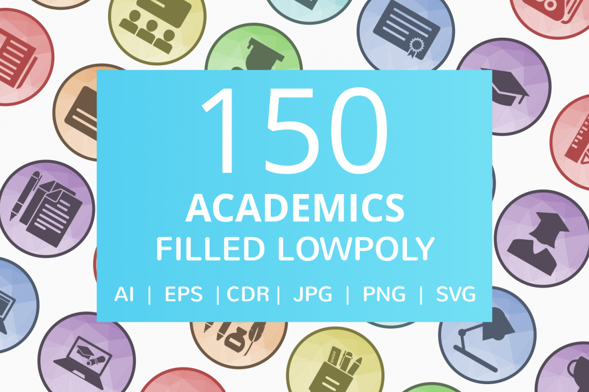 150 Academics Filled Low Poly Icons example image 1
