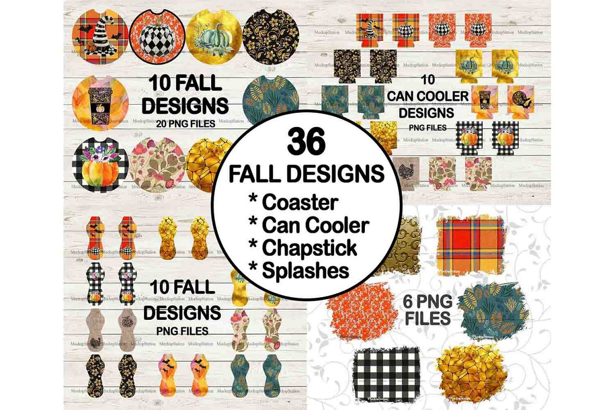 Fall Halloween Sublimation Can Cooler Chapstick PNG Bundle example image 1