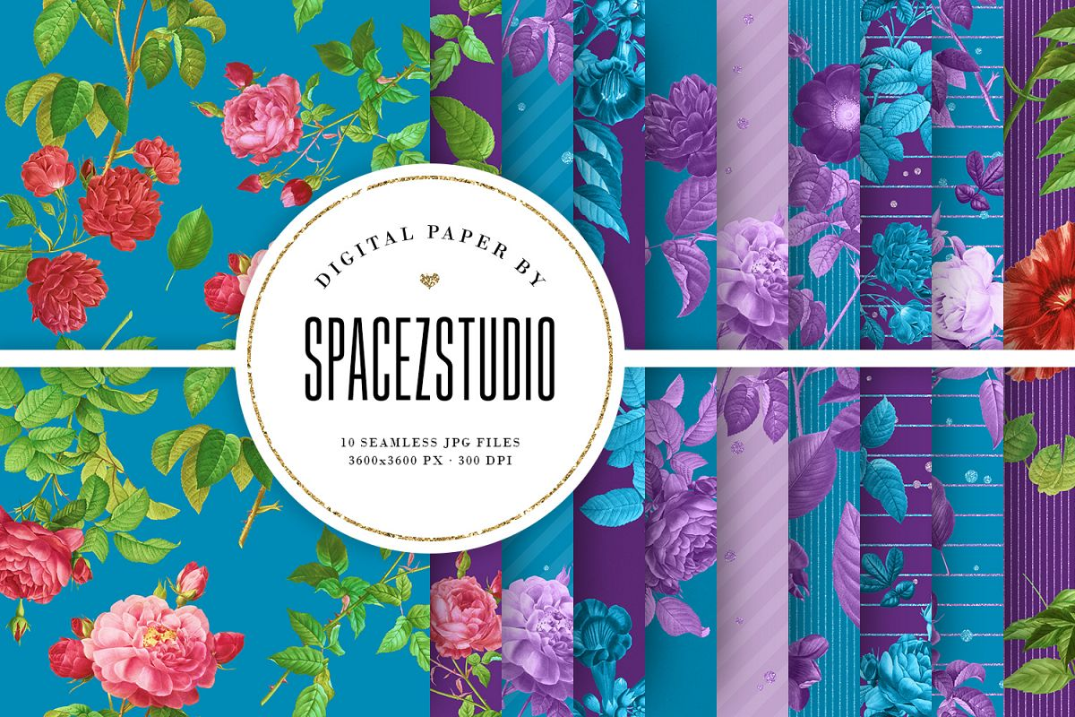 Blue & Purple Tileable Backgrounds With Flower Illustrations example image 1