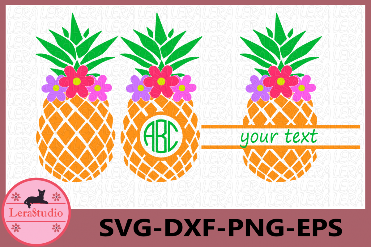 Pineapple with Flower Svg, Pineapples SVG, Monogram Svg example image 1