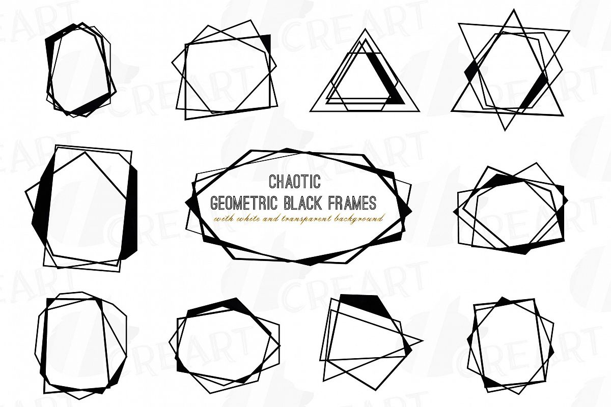 Chaotic geometric black frames, lineal frames clip art example image 1