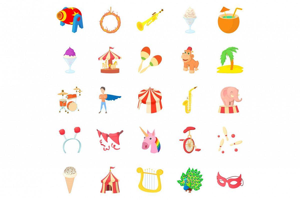 Carnival icons set, cartoon style example image 1