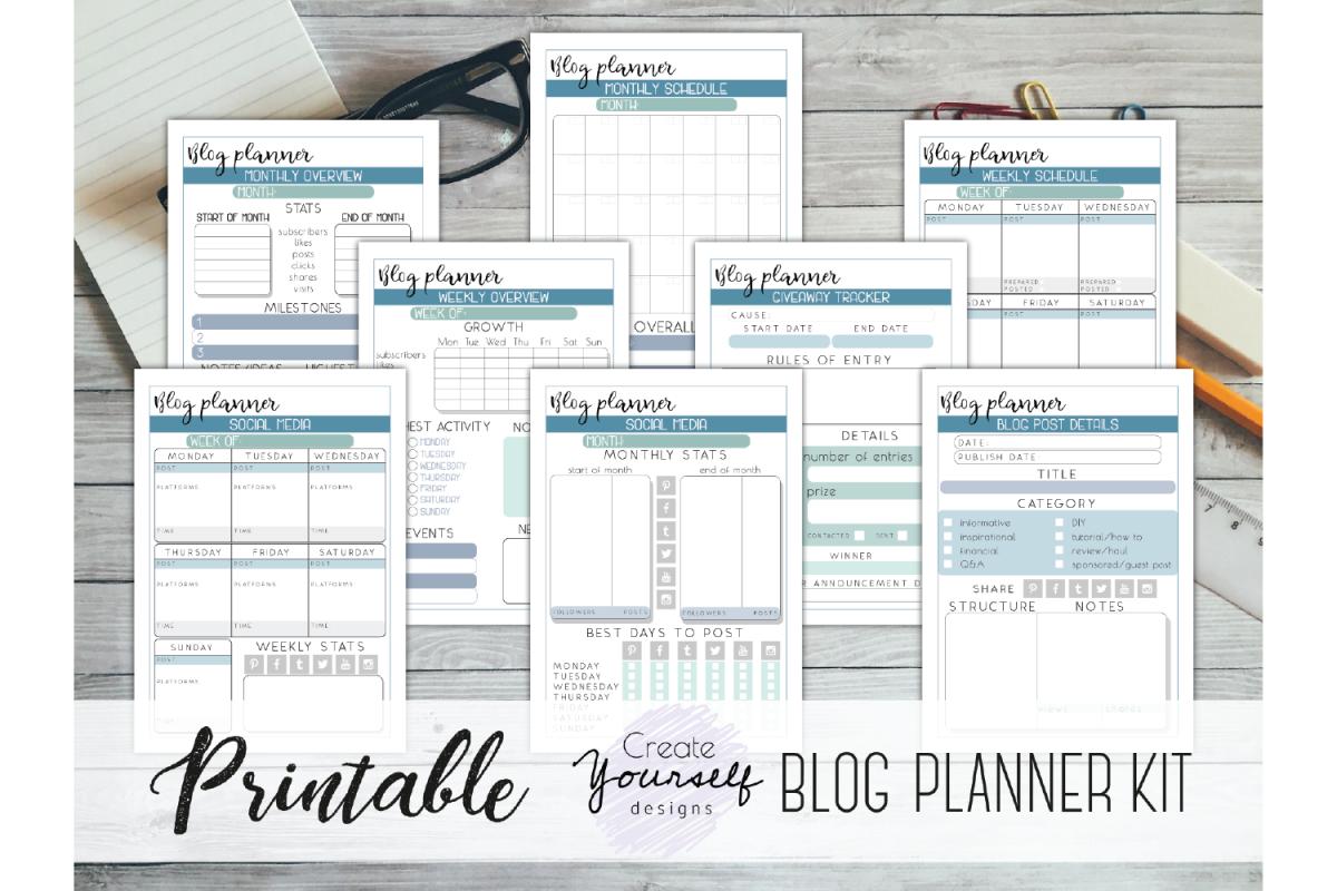 Blog planner printable - social media tracker, business plan