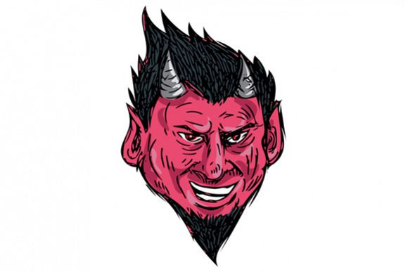 Demon Horns Goatee Head Drawing example image 1
