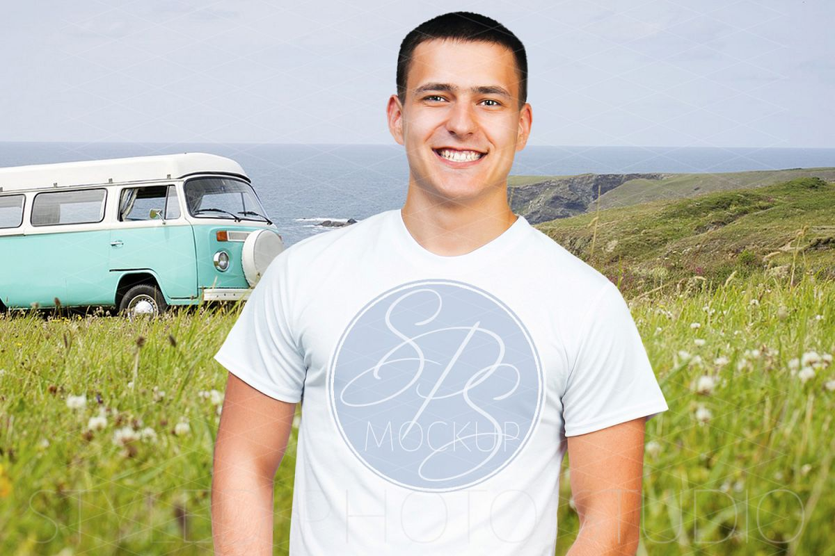 Mens tShirt Mockup with Hippy Bus example image 1