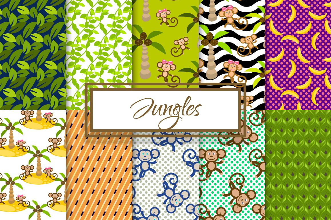 Cartoon Monkey in Jungles Patterns example image 1