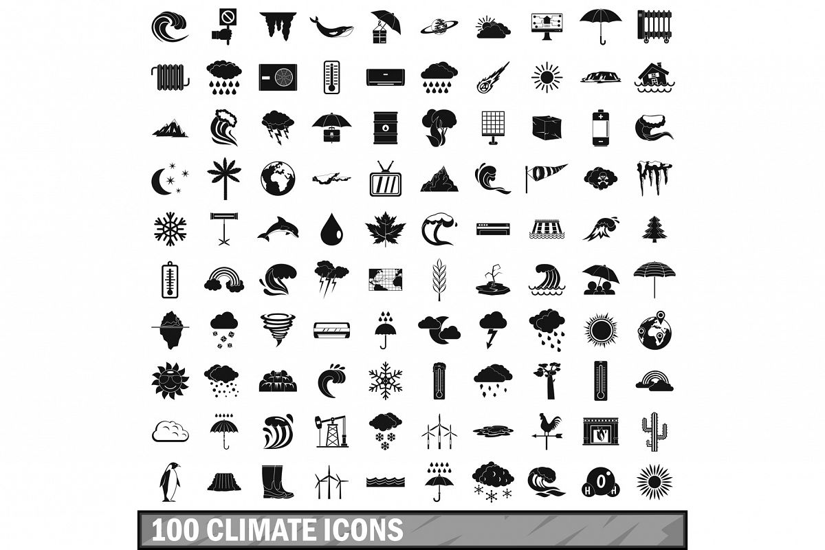 100 climate icons set, simple style example image 1