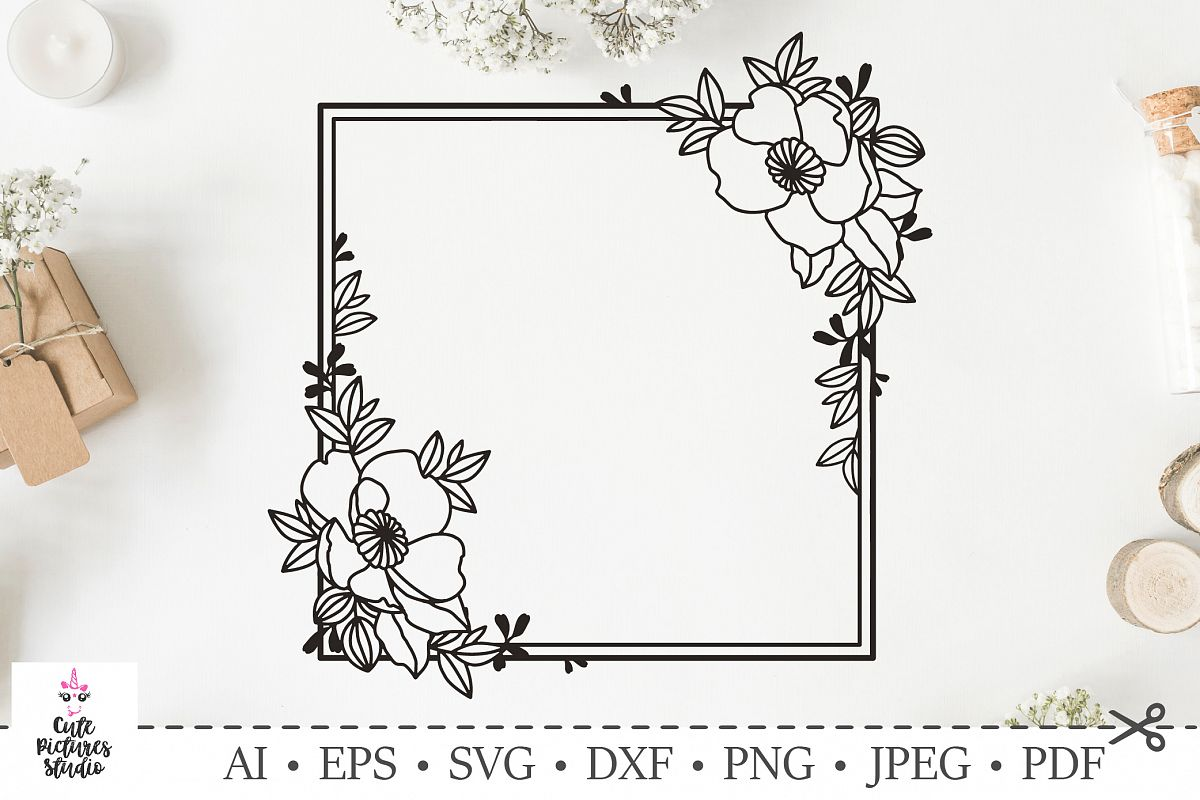 Square frame with flowers Wedding monogram  SVG DXF cut file