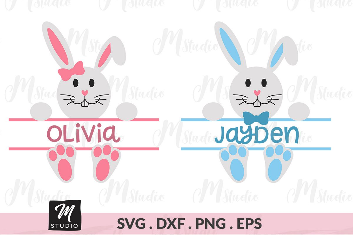 Split Bunny monogram svg. example image 1