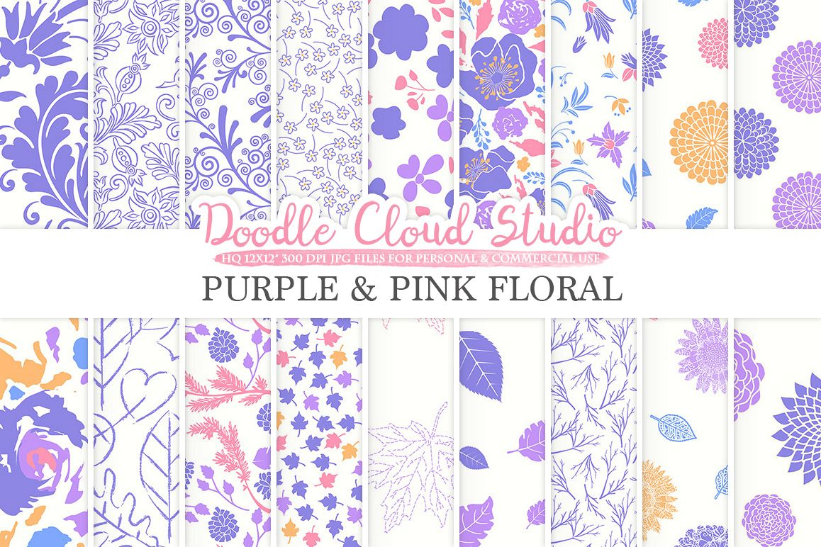 Purple and Pink Floral digital paper Orange Floral pattern Flowers Dhalia Leaves Damask Calico backgrounds for Personal & Commercial Use example image 1