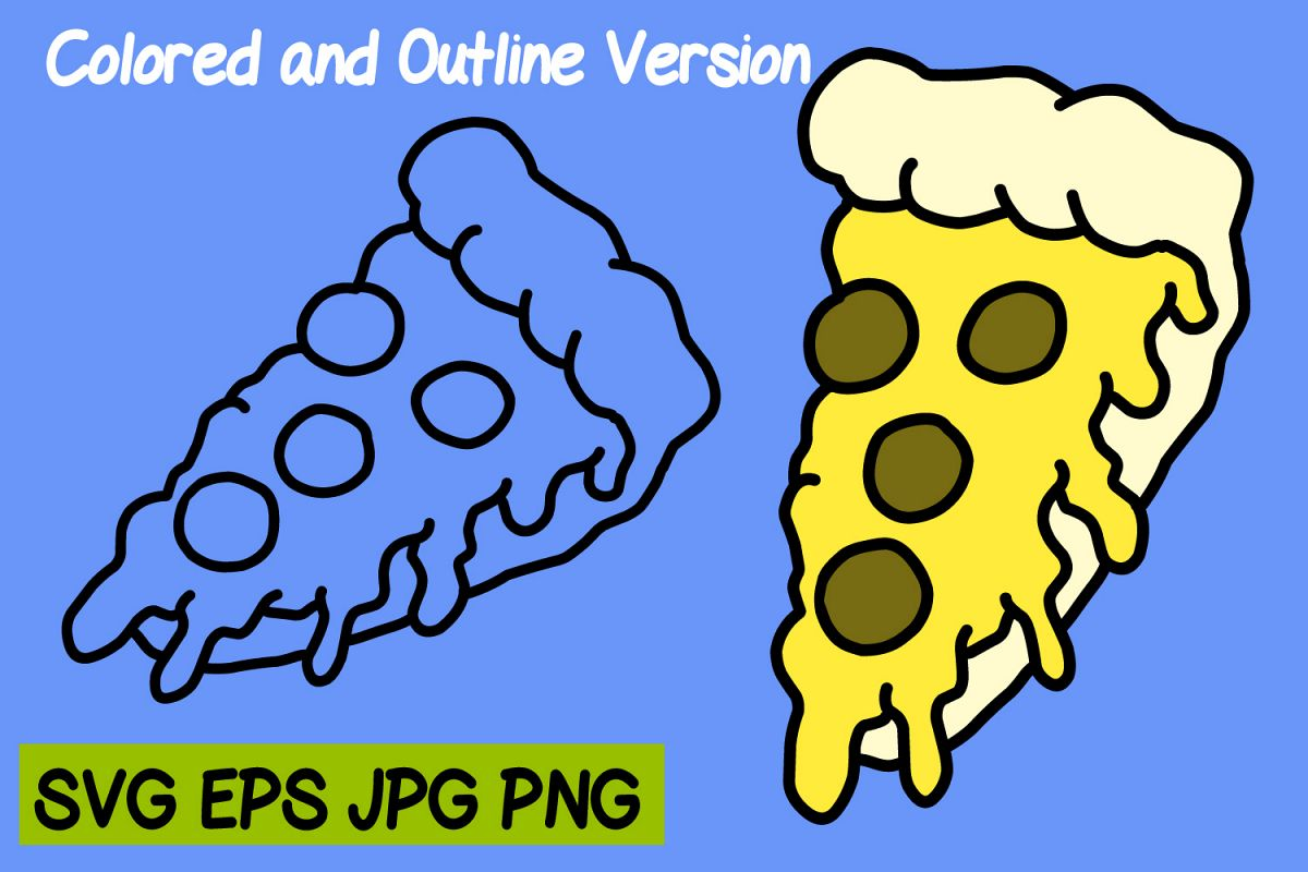 Pizza pieces - SVG/EPS/JPG/PNG Hand Drawing example image 1