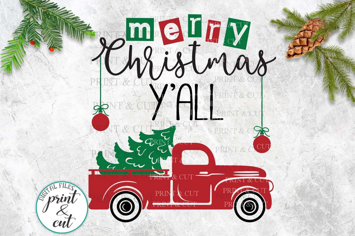Merry Christmas Y'all Truck svg dxf files for vinyl HTV cut example image 1
