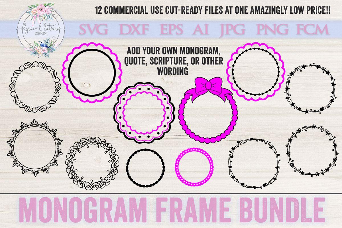 Monogram Frame Bundle of 12 SVG Cut fil | Design Bundles
