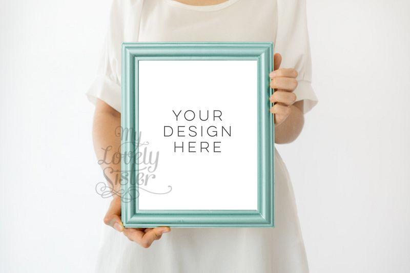 Green frame mock up, backgrounds for your artwork, minimalist mock up, Nursery Image Frame Photo, Kids Frame Photo, Poster Mockup 8x10 inchi example image 1
