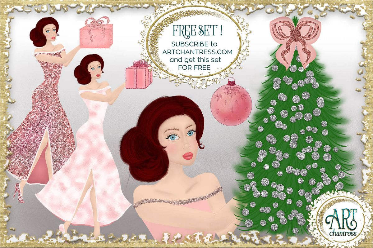 Pink Christmas Glitter Clipart FREE Sample PNG