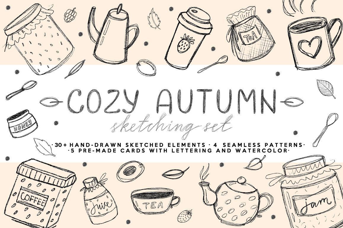 Cozy Autumn - HandSketched Set example image 1