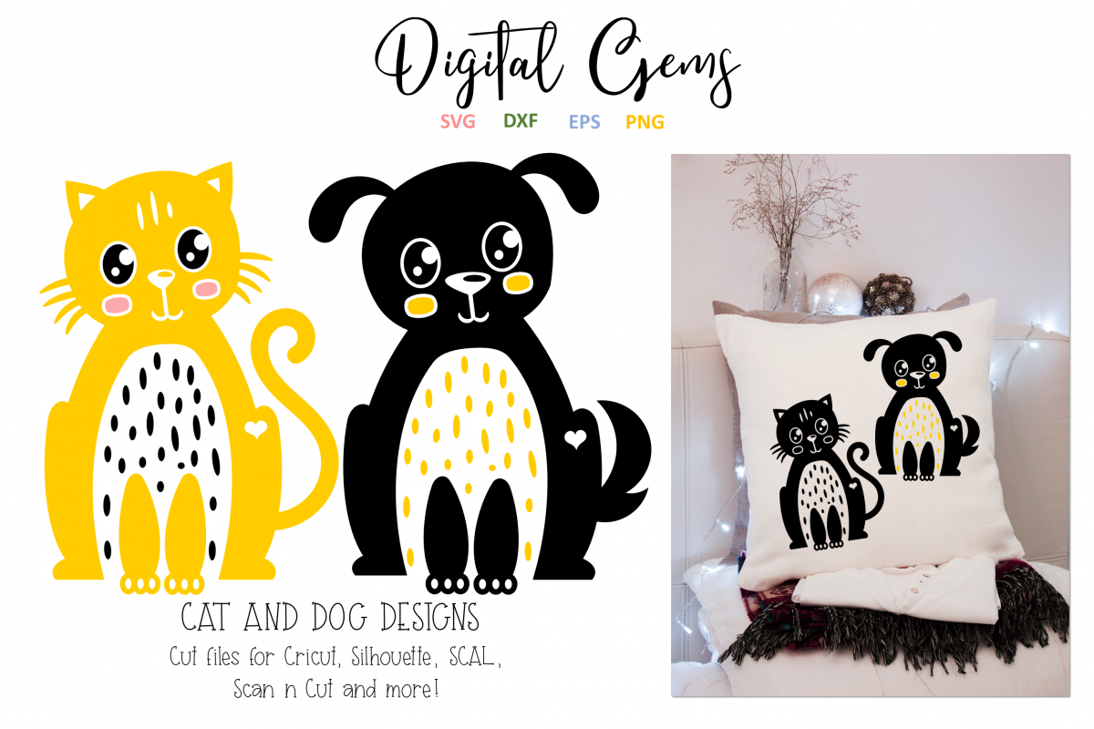 Cat and Dog SVG / EPS / DXF / PNG Files example image 1