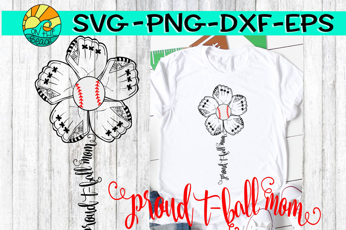 T-Ball Mom - Flower Mitt - SVG - DXF - EPS - PNG example image 1
