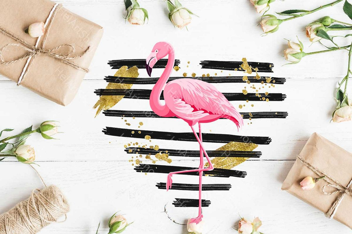 Flamingo png, Distressed Heart, Love Sublimation design example image 1