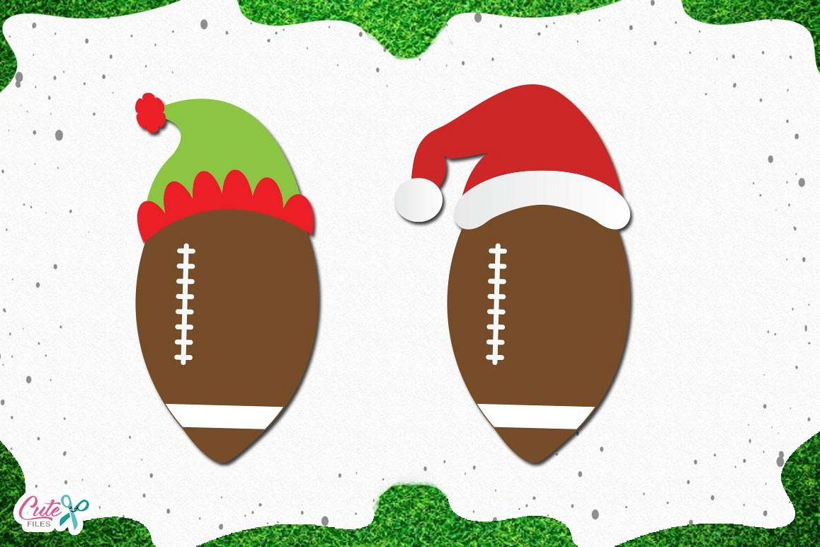 Football with santa and elf hats SVG, cut files for craftter example image 1