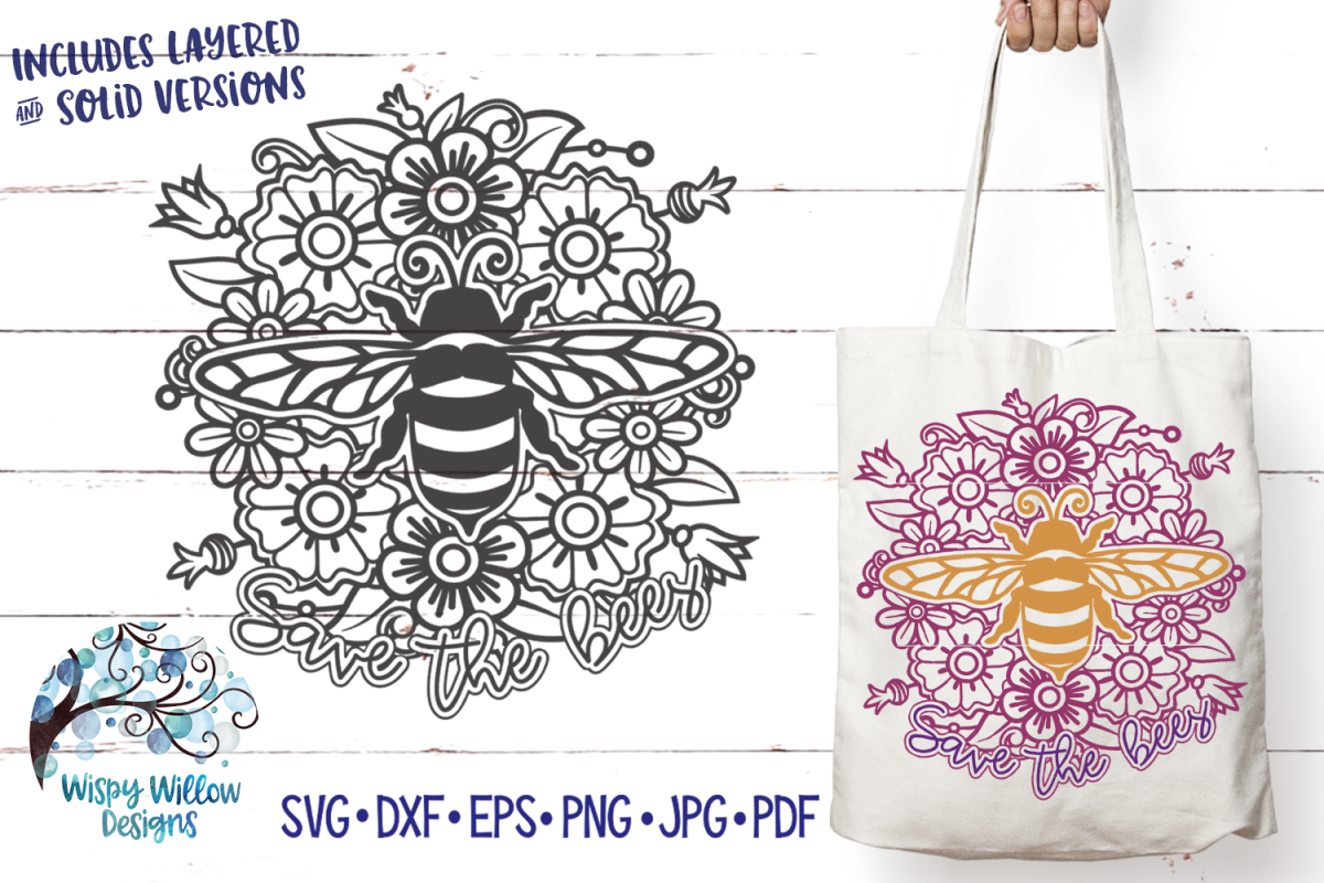 Save the Bees Mandala SVG | Bee SVG Cut File example image 1