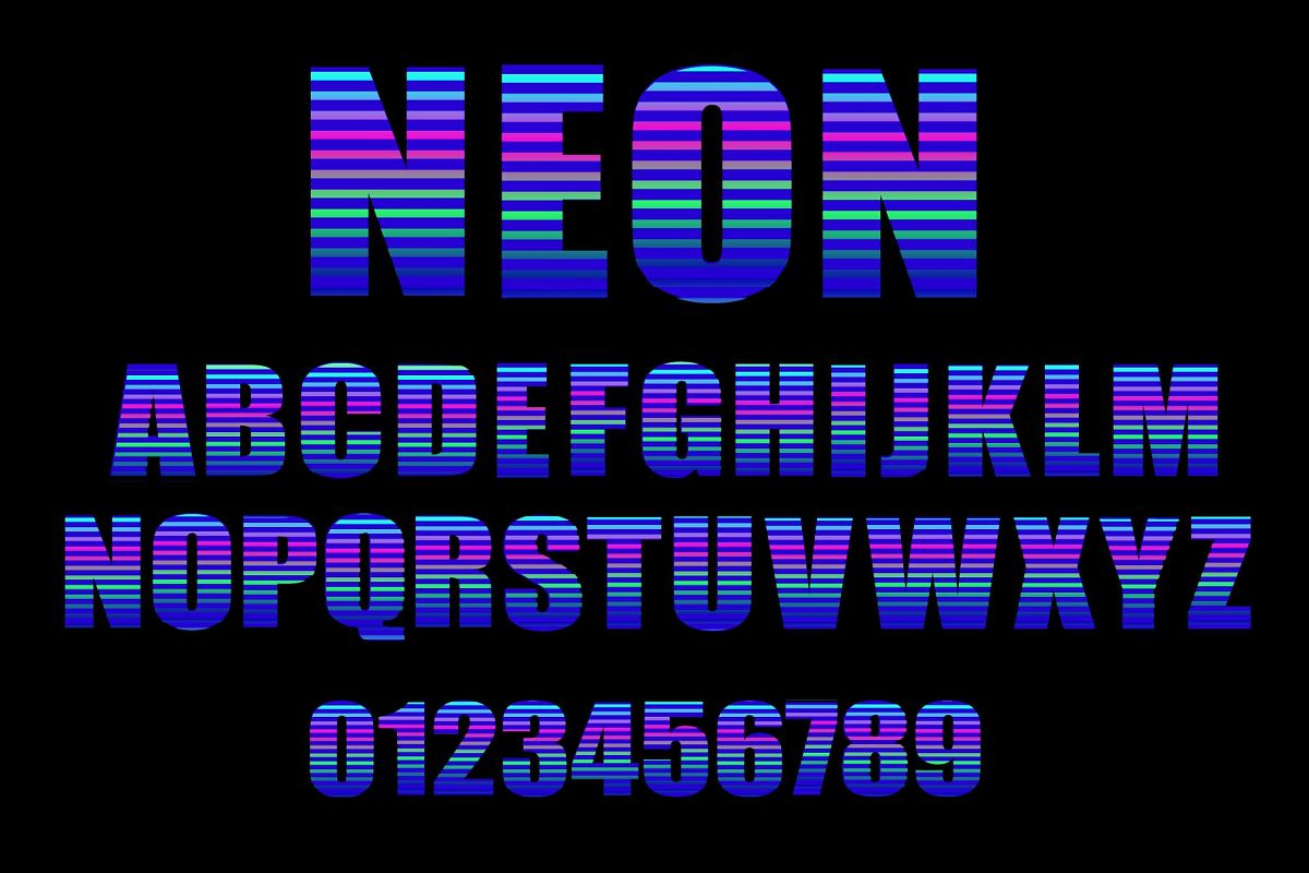 Neon vector alphabet example image 1