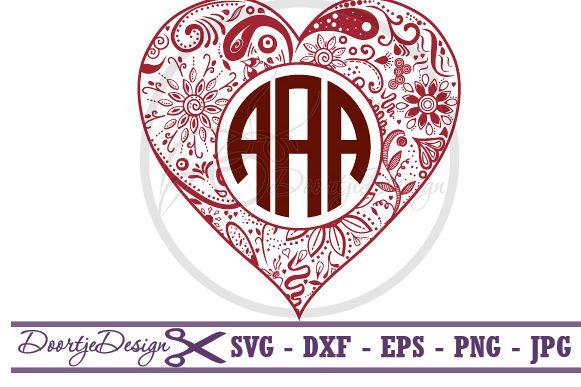 SVG Heart Monogram, SVG monogram Heart example image 1