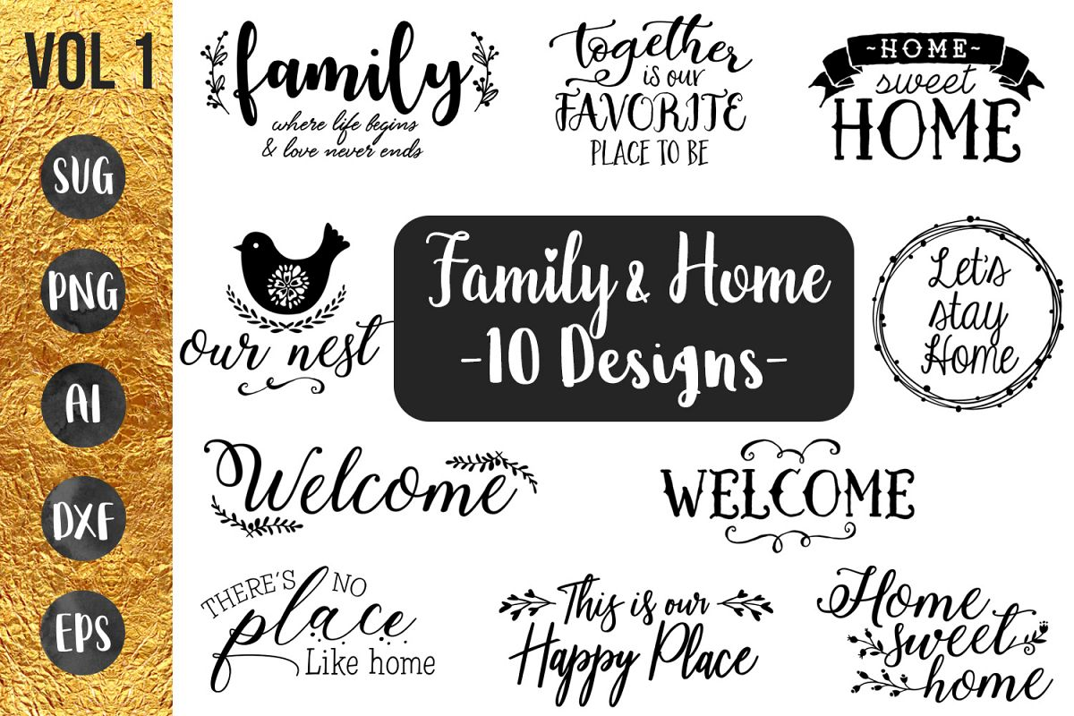 FAMILY & HOME- 10 designs - svg cut files Cricut Silhouette example image 1