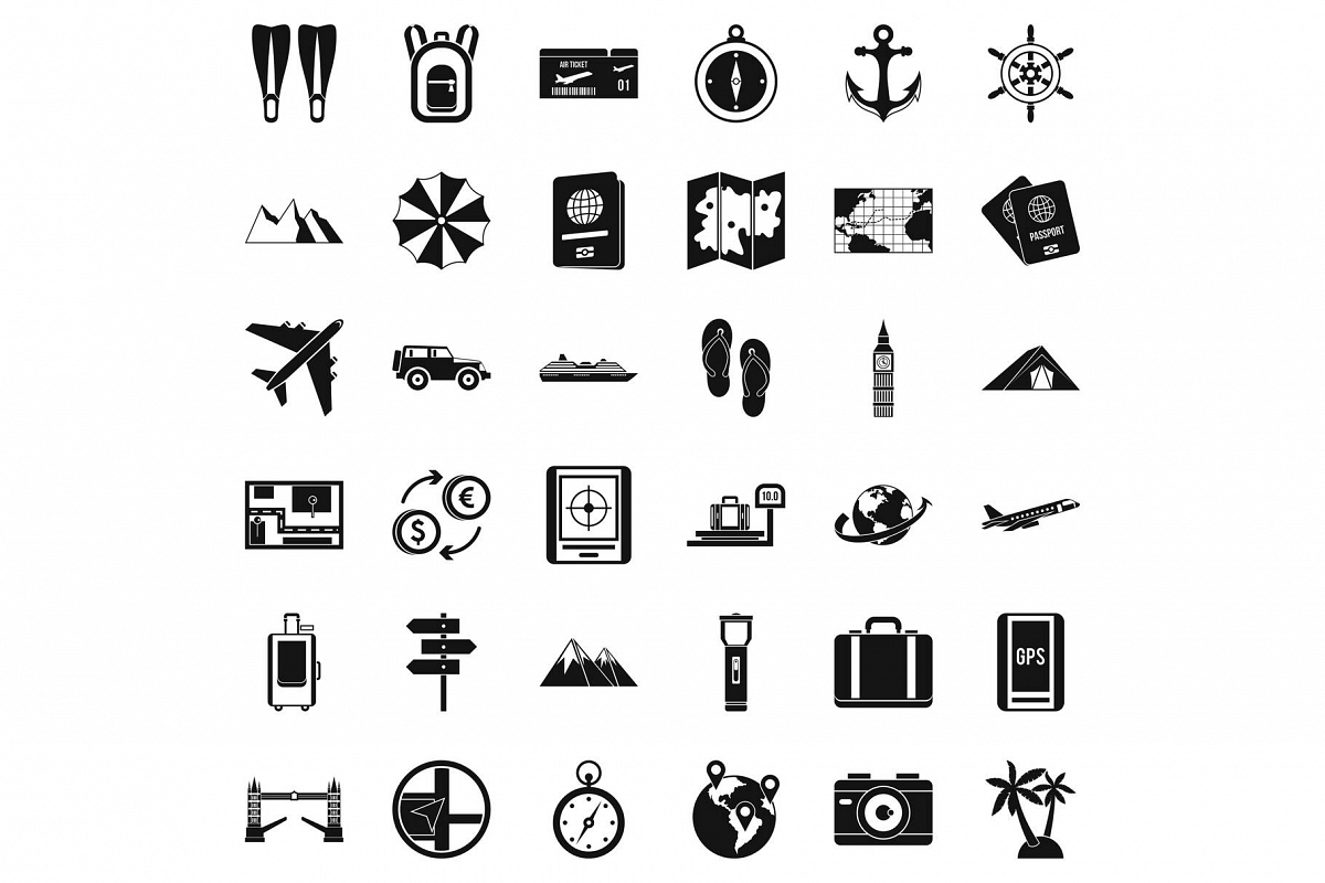 Travelling icons set, simple style example image 1