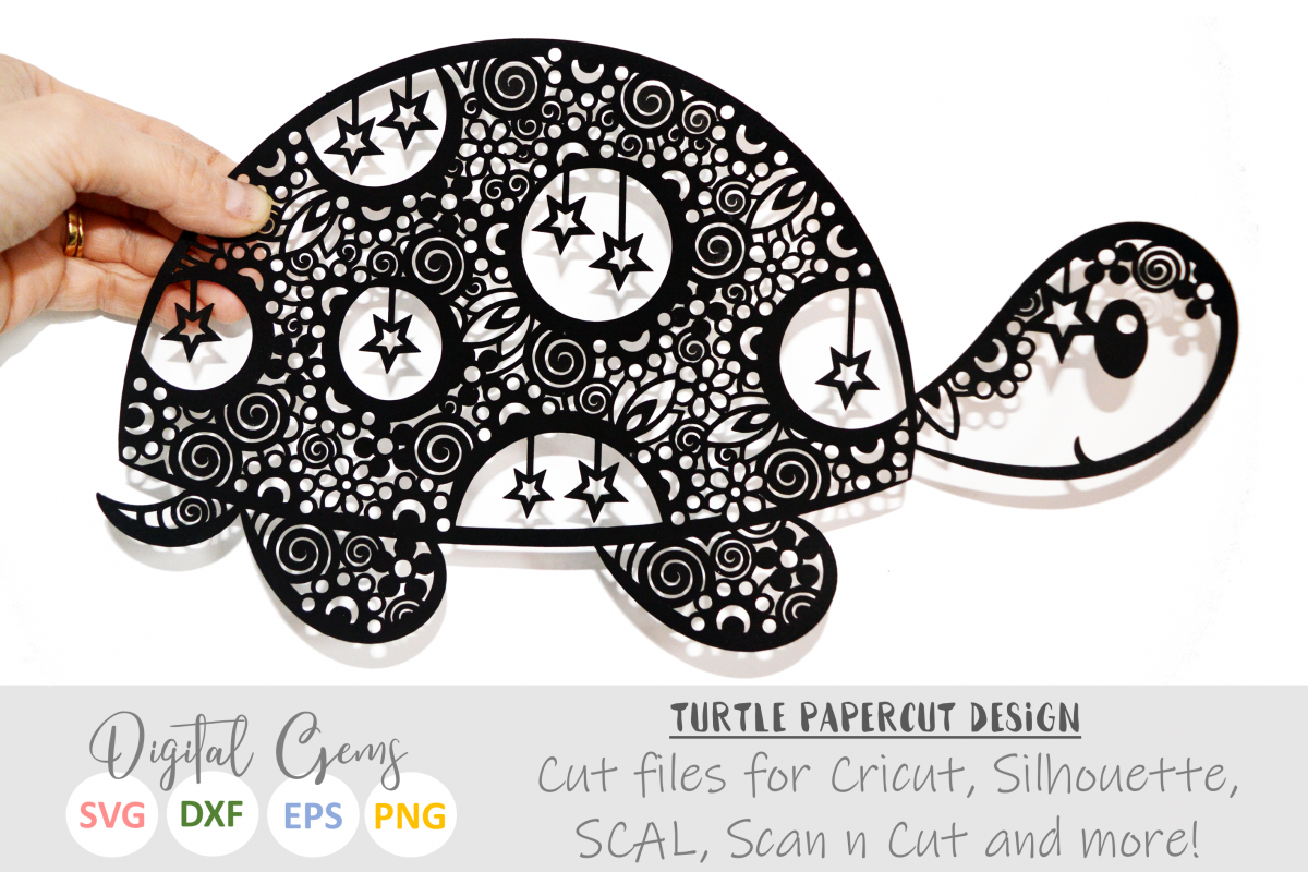 Turtle paper cut SVG / DXF / EPS files example image 1