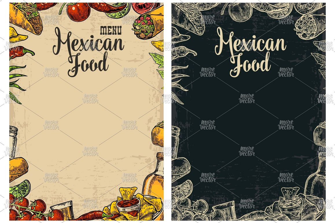 Mexican traditional food restaurant menu engraved example image 1