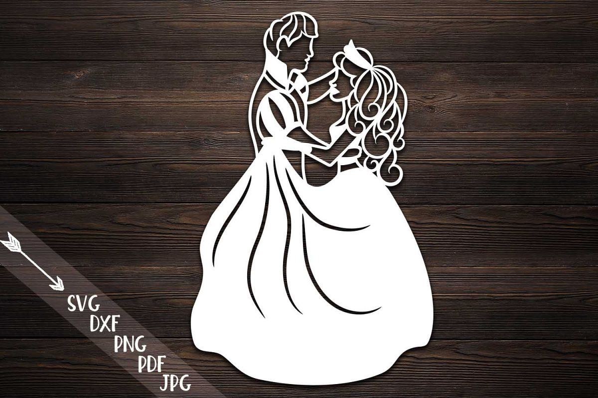 Couple papercutting template, bride and groom svg example image 1