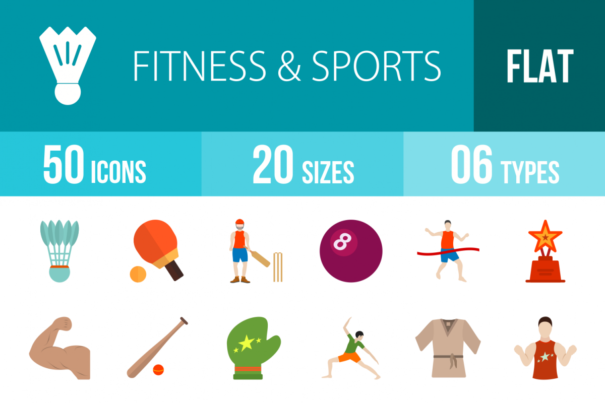 50 Fitness & Sports Flat Multicolor Icons example image 1