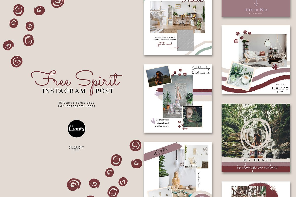 Instagram Posts Canva Template - Free Spirit example image 1