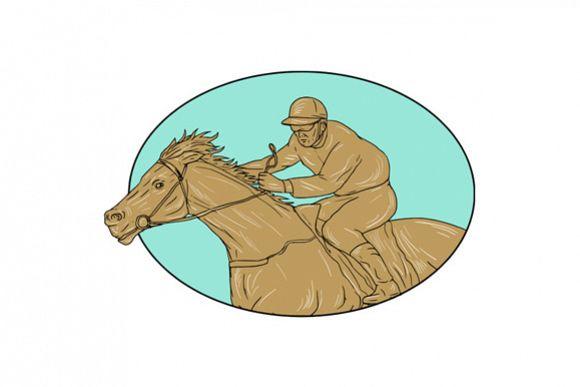 Jockey Horse Racing Oval Drawing example image 1