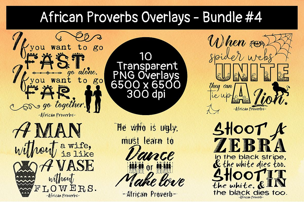 African Proverbs Overlays Bundle #4 example image 1