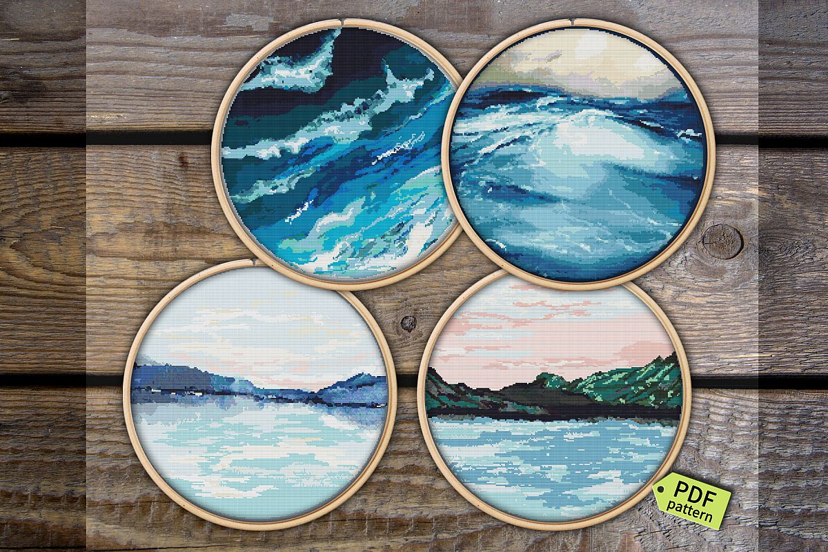 Cross stitch Fox Pattern Pdf, Blue ocean wave cross stitch example image 1