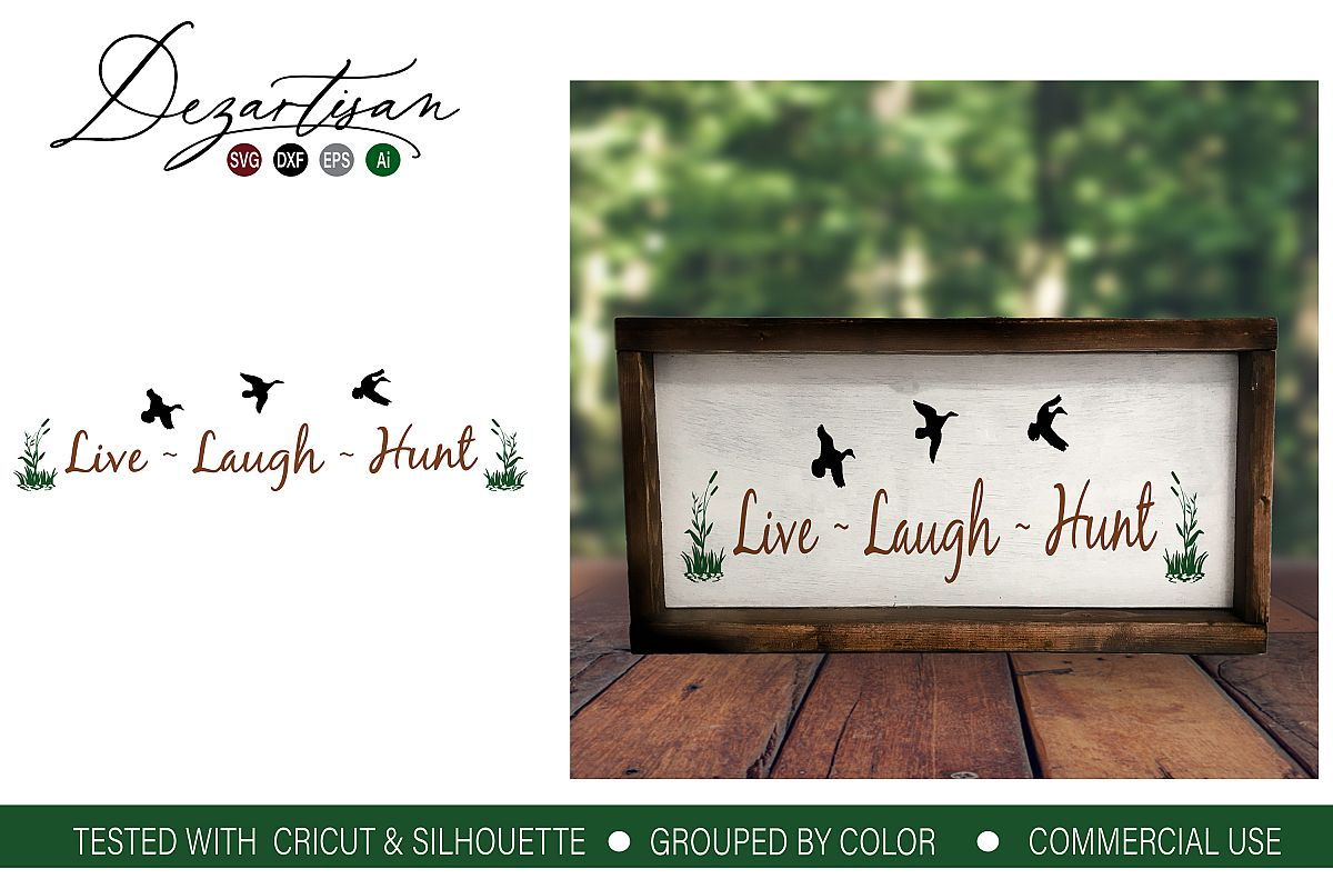 Live Laugh Hunt Geese SVG DXF cut file example image 1