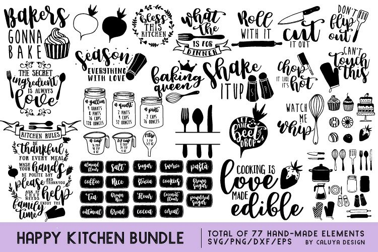 Happy Kitchen SVG Cut File Bundle example image 1