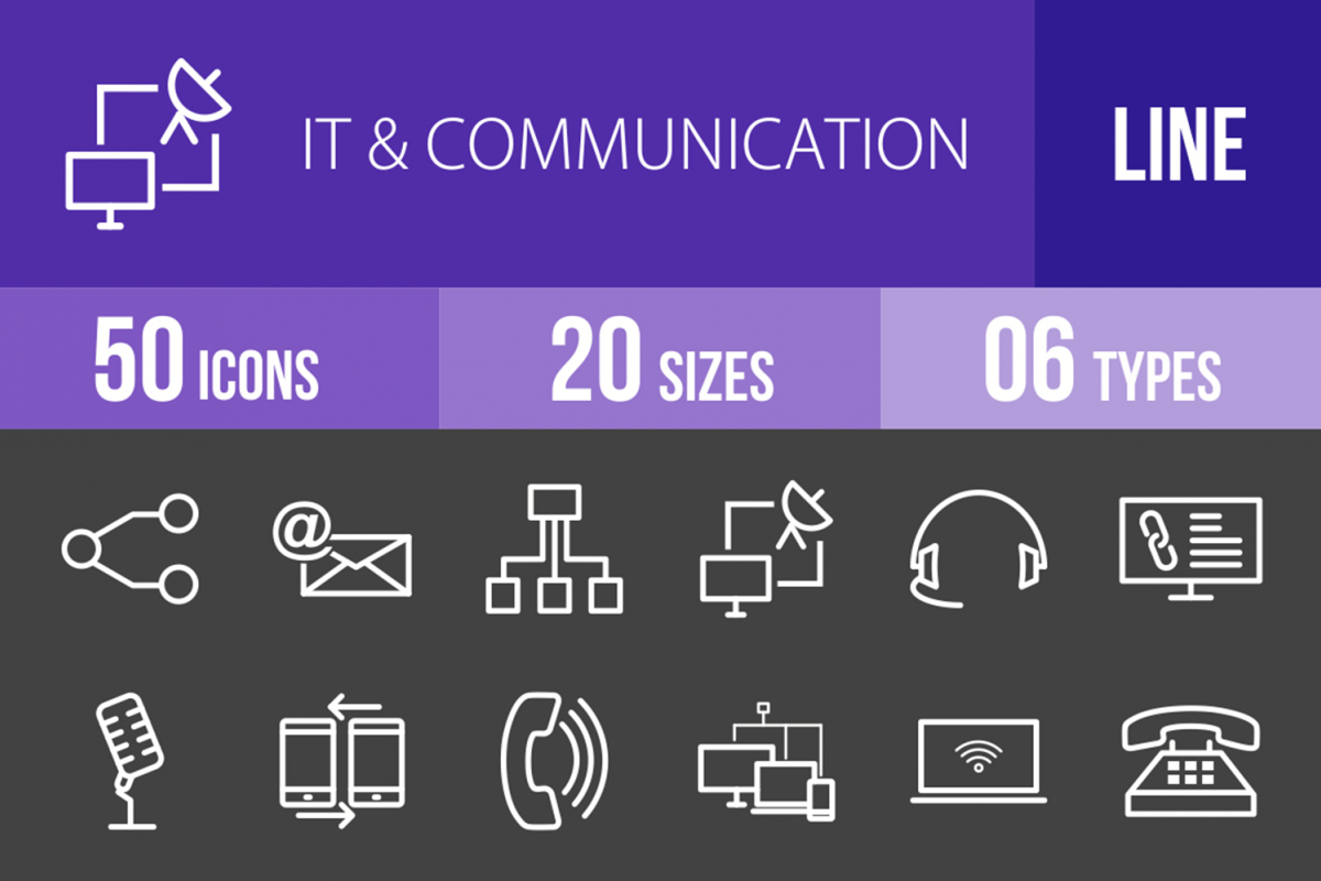 50 IT & Communication Line Inverted Icons example image 1