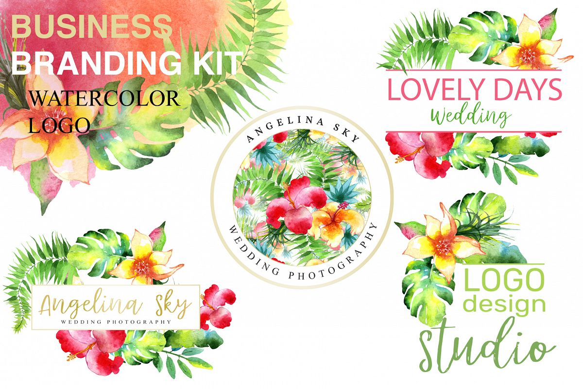 LOGO with bright tropical flowers Watercolor png example image 1