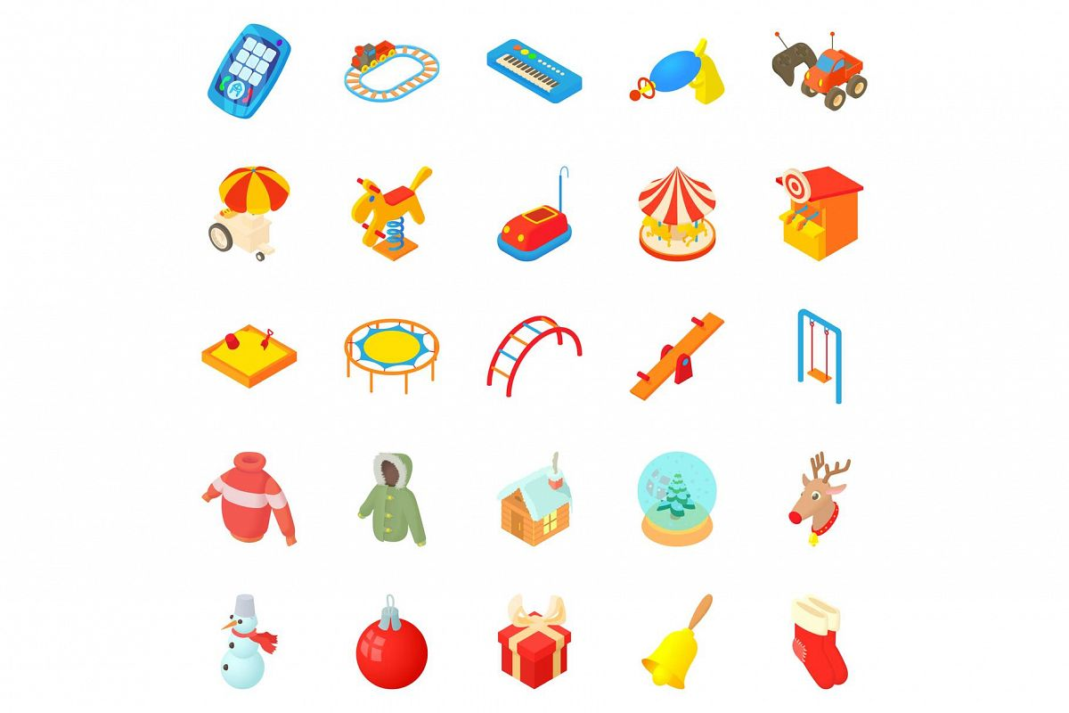 Wean icons set, cartoon style example image 1