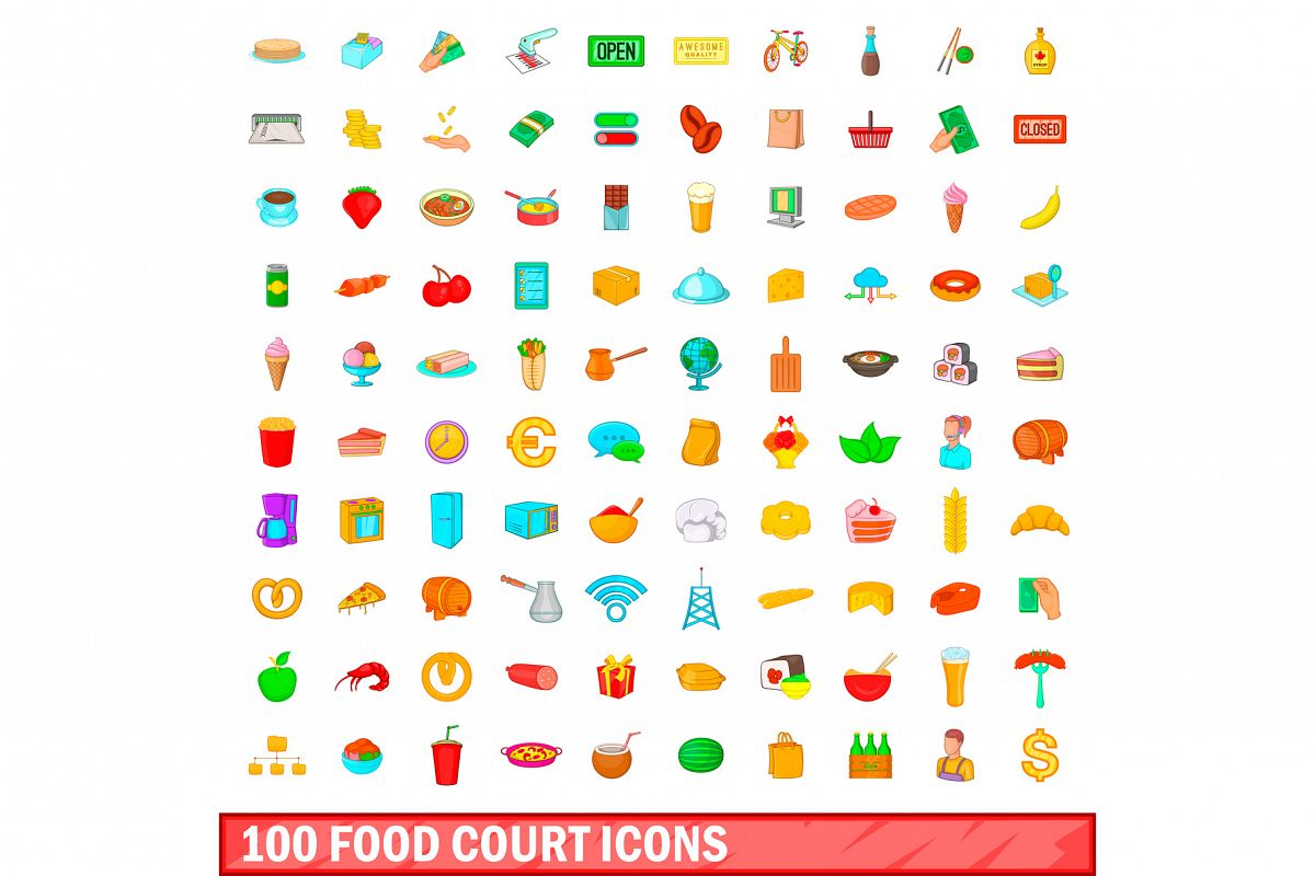 100 food court icons set, cartoon style example image 1