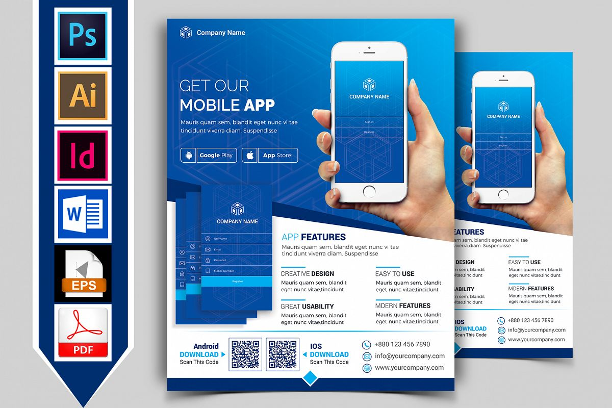 Mobile App Promotional Flyer Vol-03 example image 1