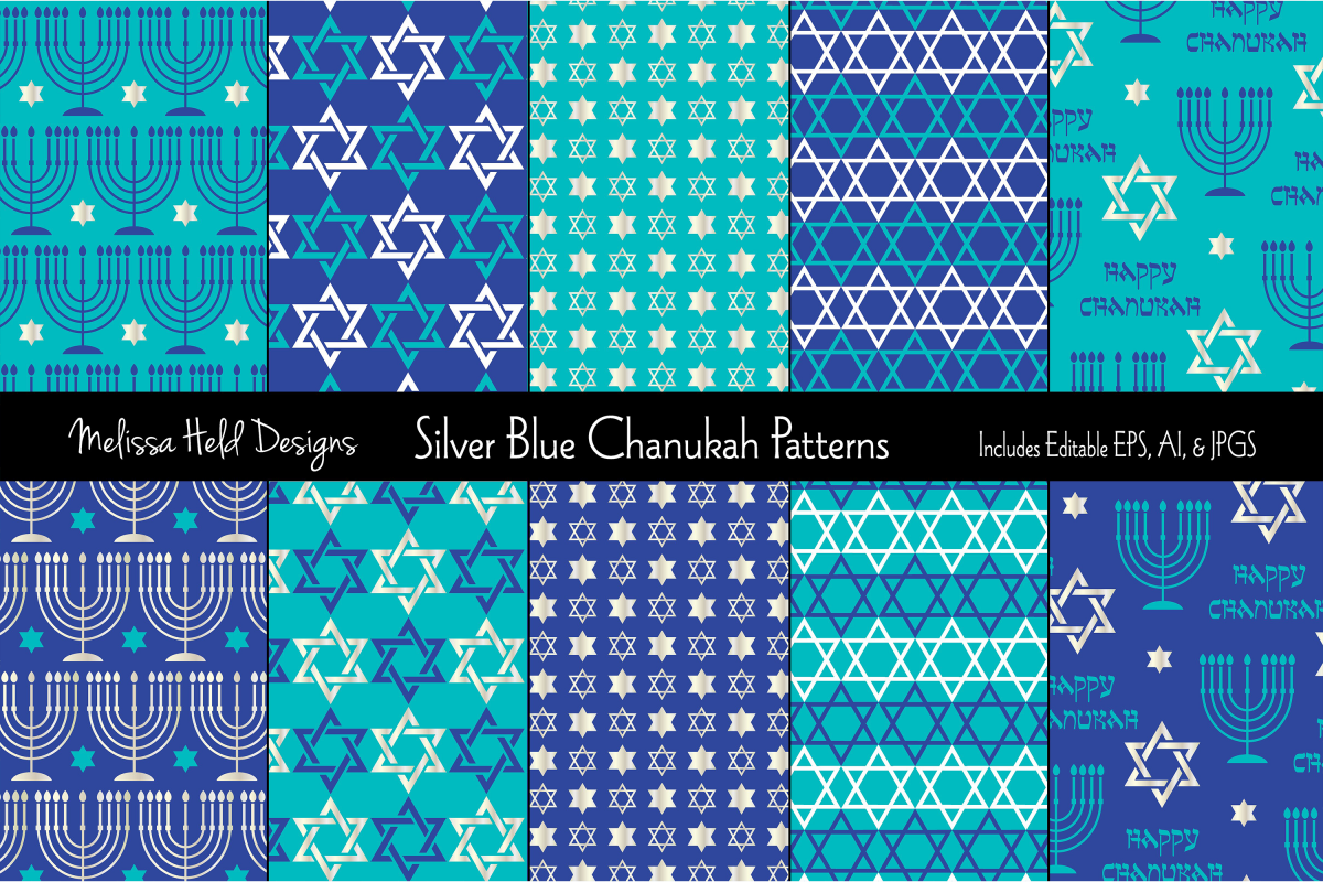 Silver Blue Chanukah Patterns example image 1