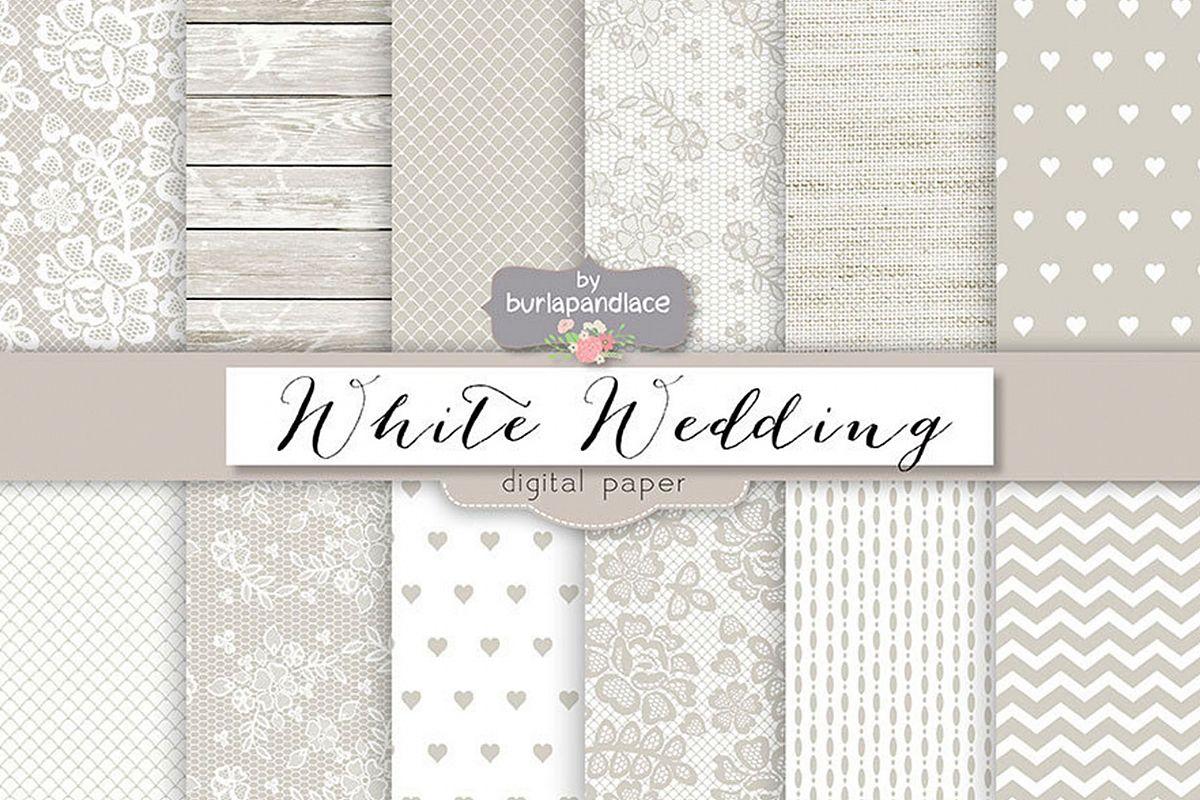 White wedding digital paper pack example image 1