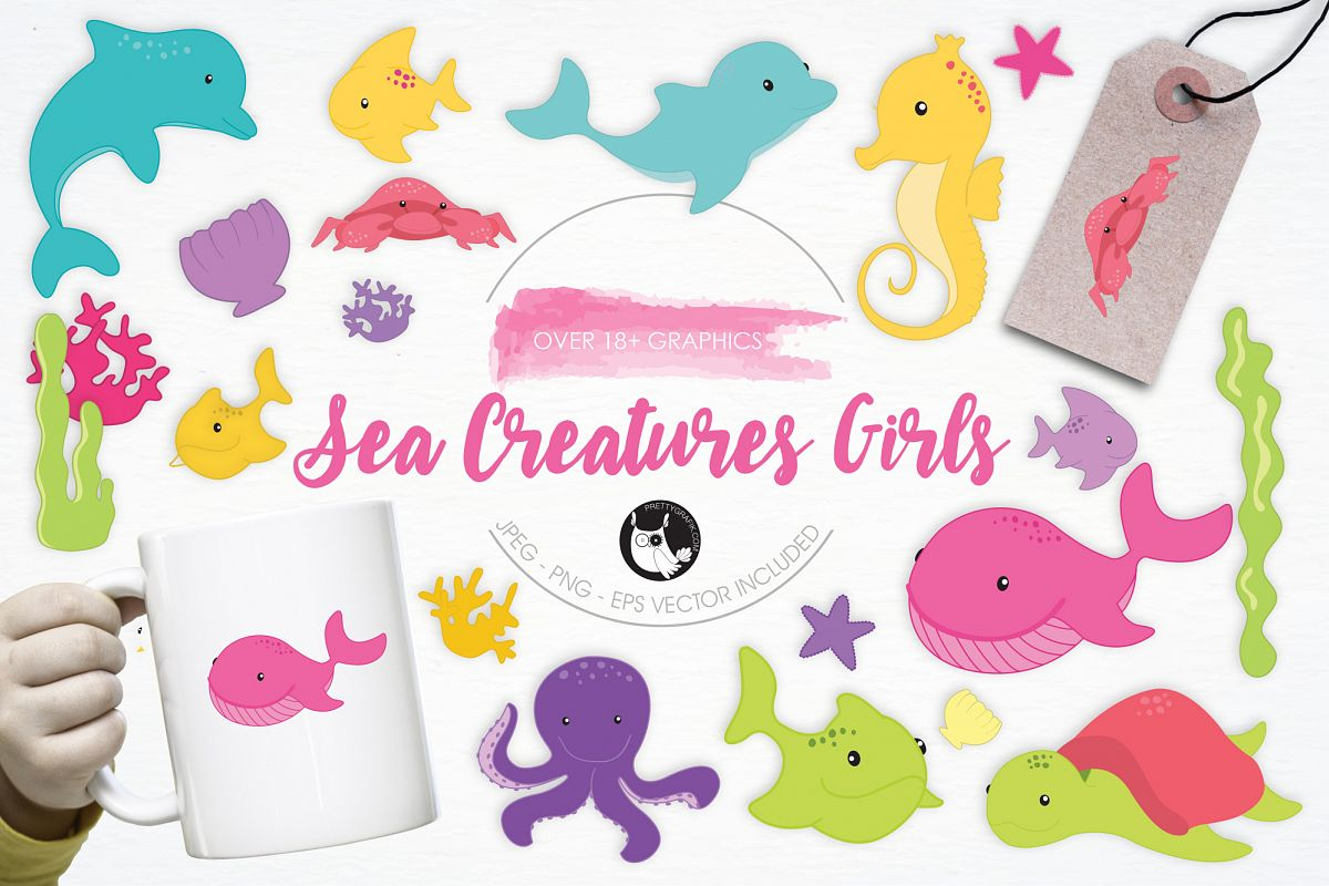 Sea Creatures Girls graphics and illustrations example image 1