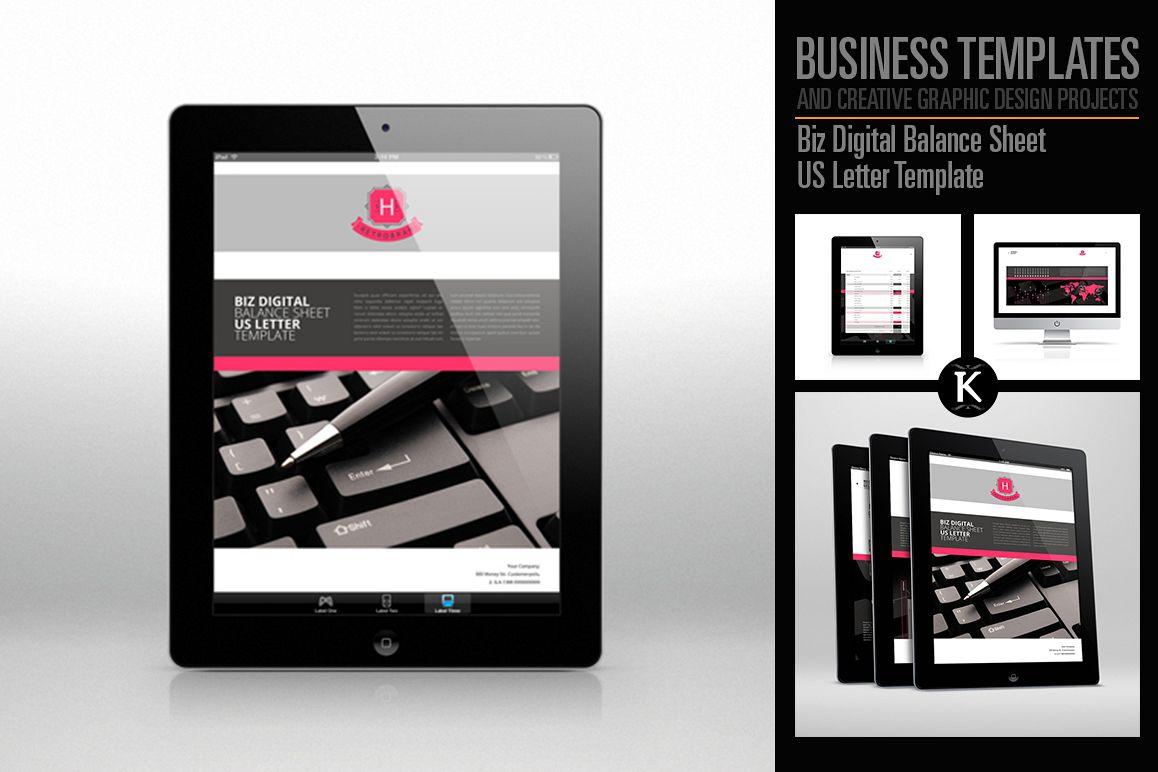Biz Digital Balance Sheet US Letter Template example image 1